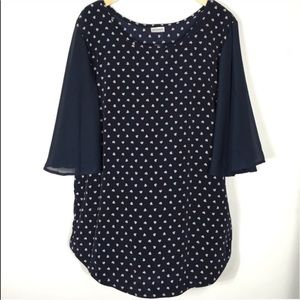 Tops - Navy Blue Blouse with Flared Elbow Length Sleeves